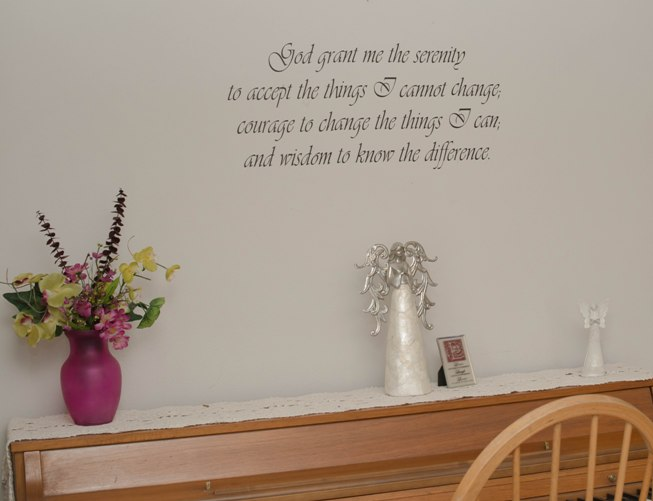 serenity prayer on wall at retreat house
