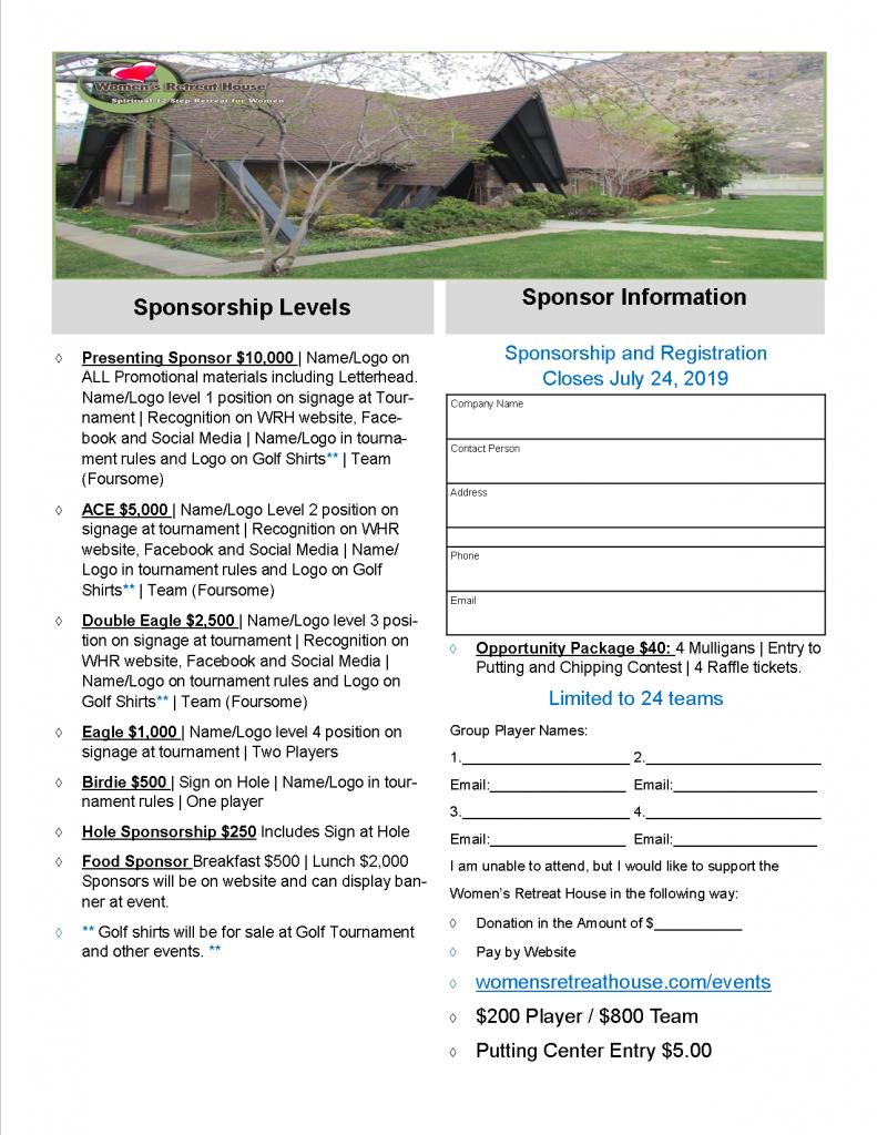 Sponsorship form for golf event